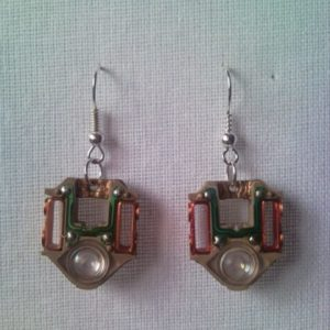 Steampunk style CD player laser lens earrings