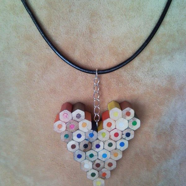 Coloured heart pencil, crayon necklace pendant