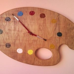 Painter palette artistic wall clock with brush clock hands 1.