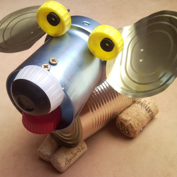 Tin can puppy dog, recycled sculpture, junk art, home decor 1.