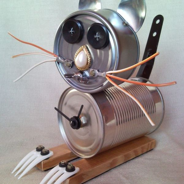 Recycled tin can zombie cat desk, table clock, junk sculpture, home decor
