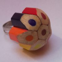Coloured pencil crayon mottled, dotted, spotted flower ring