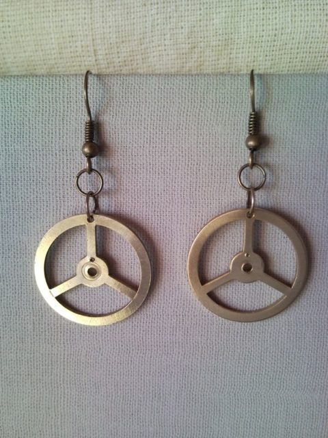 Mercedes earrings car emblem sign recycled clockwork for Mercedes benz earrings