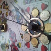 Colourful upcycled wall clock from playing card