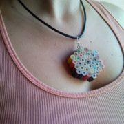 Coloured flower pencil, crayon necklace pendant