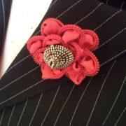 Recycled elegant red zipper rose flower brooch