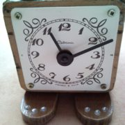 Antique wooden coffee mill grinder box cat desk clock