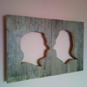 Rustic wall picture pallet silhouette portrait from photo