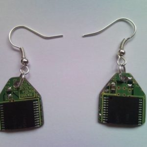Recycled microchip PCB geekery earrings 1.