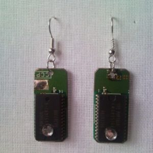 Recycled microchip PCB geek earrings with strass 2.