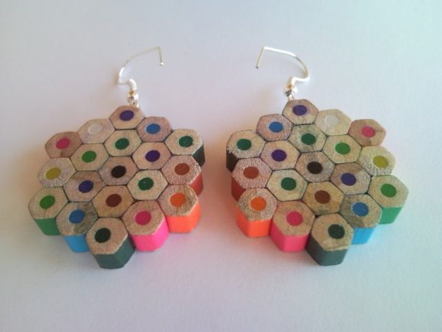 Flower Shaped Dotted Spotted Colored Crayon Pencil Earrings 1