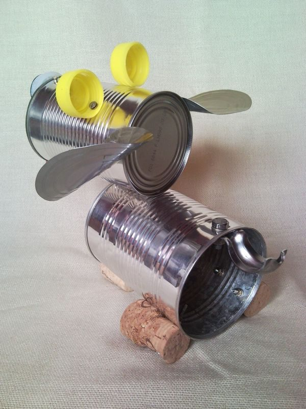 tin can puppy dog recycled sculpture junk art home decor 2