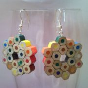 Flower shaped coloured pencil crayon earrings 3.
