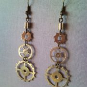 Steampunk style earrings from clockwork gear 3.