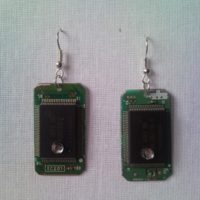 Recycled microchip PCB geek earrings with strass 4.