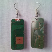 Recycled microchip PCB geek earrings with strass 5.