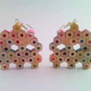 Pacman ghost retro video game earrings from rainbow colored pencil crayon