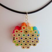 Flower shaped rainbow colored pencil pendant necklace for artist art teacher painter
