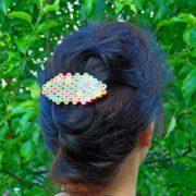 Rainbow colored pencil barrette hair clip accessory for art teacher artist painter