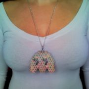 Pacman ghost retro video game necklace pendant from rainbow colored pencil crayon